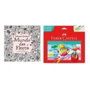Kit - Livro para Colorir Antiestresse Mundo Das Flores + Lápis de Cor 60 Cores Aquarela Faber-Castell