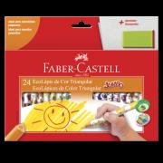 Lápis de Cor com 24 Cores Faber-Castell Jumbo + Apontador