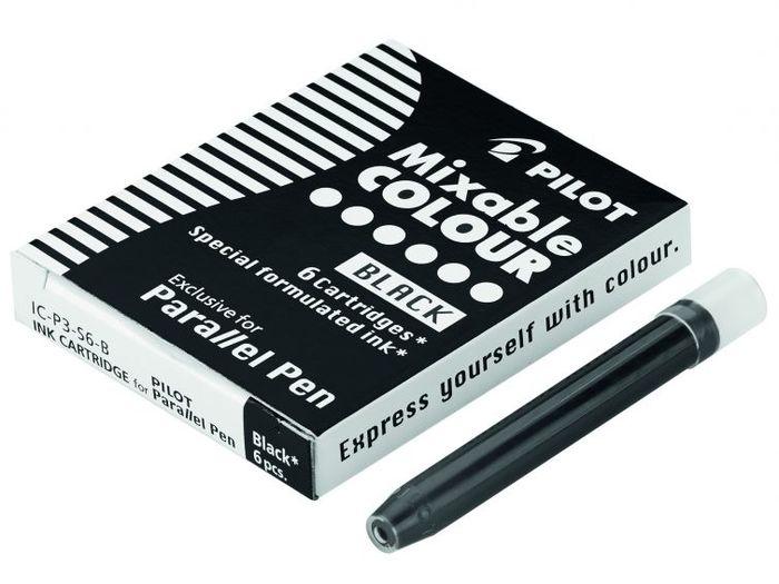 Caixa com 6 Cartuchos de Tinta Preta para Caneta Caligráfica Pilot Parallel Pen