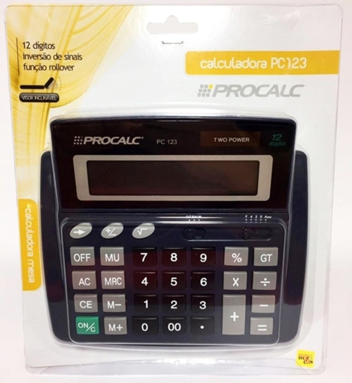 Calculadora De Mesa Com 12 Dígitos Procalc PC123