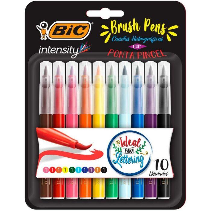 Canetas Brush Pen com 10 Cores BIC - Ponta Pincel