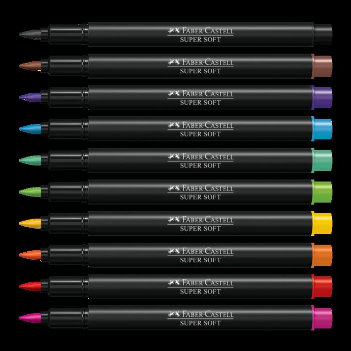 Canetas Brush Pen Faber-Castell Supersoft com 10 Cores Ponta Pincel