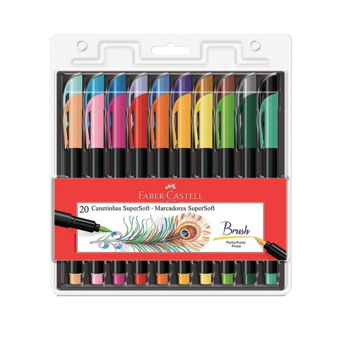 Canetas Brush Pen Faber-Castell Supersoft com 20 Cores Ponta Pincel