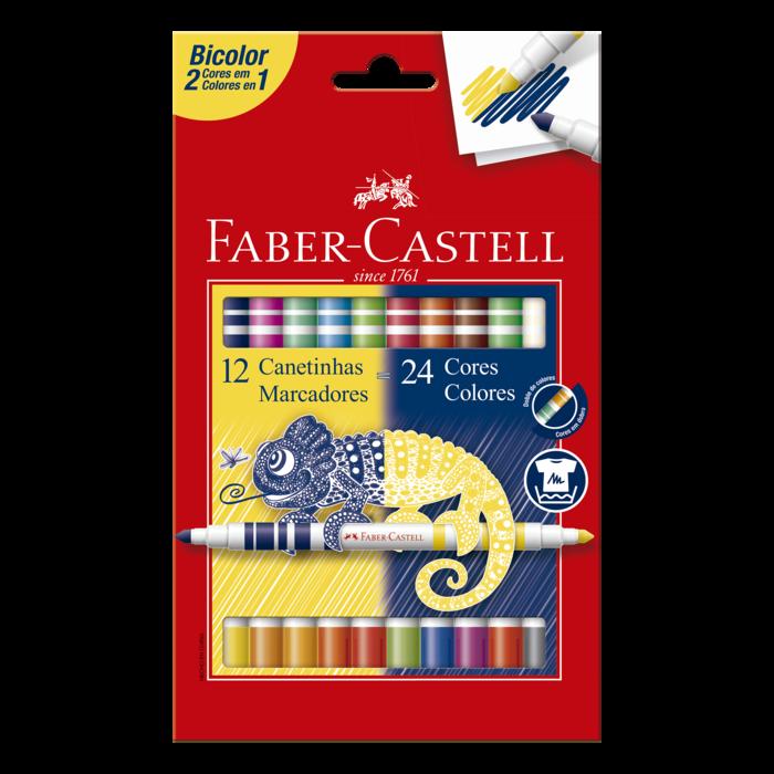 Canetas Hidrográficas Bicolor com 24 Cores Faber-Castell