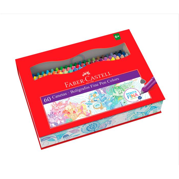 Canetas Hidrográficas Faber-Castell Fine Pen 60 Cores - Lançamento