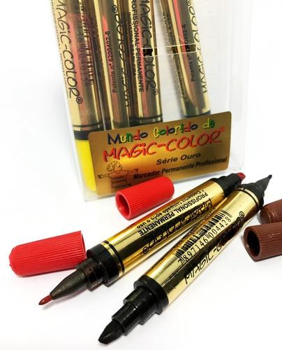 Canetas Magic Color com 6 Cores Ponta Dupla - Série Ouro 651