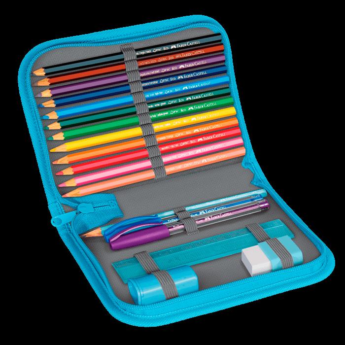 Estojo Escolar com 18 Materiais Faber-Castell Bicho Preguiça Azul  - 18.2220AZ