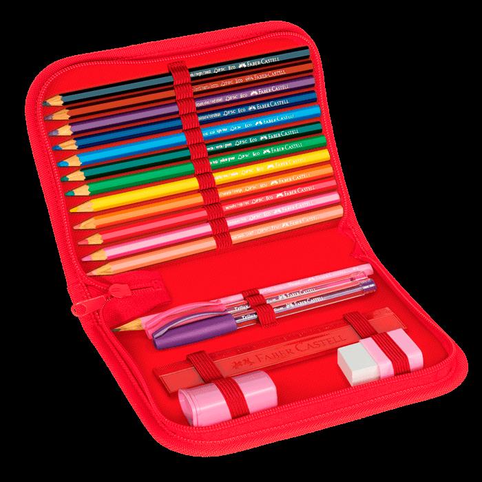 Estojo Escolar com 18 Materiais Faber-Castell Porco Espinho Vermelho  - 18.2220VM