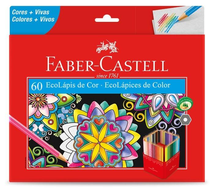 Kit - 2 Livros para Colorir + Lápis de Cor 60 Cores Faber-Castell
