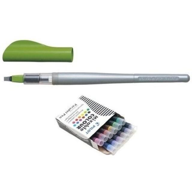 Kit - Caneta Caligráfica Pilot Parallel Pen 3.8mm + 12 Cartuchos De Recarga