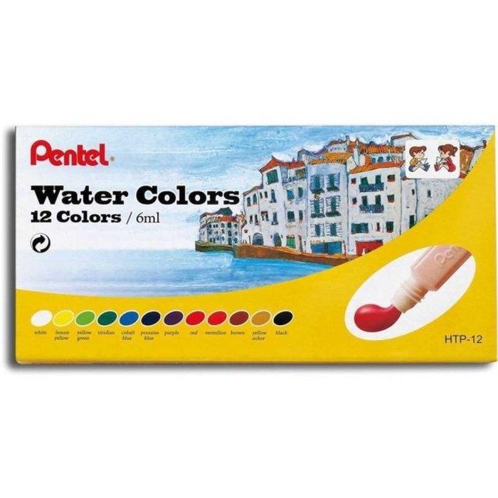 Kit - Cola Líquida Tenaz Pritt 110g + Aquarela Pentel 12 Cores + Guache Acrilex 6 Cores + Cola Colorida Acrilex 6 Cores
