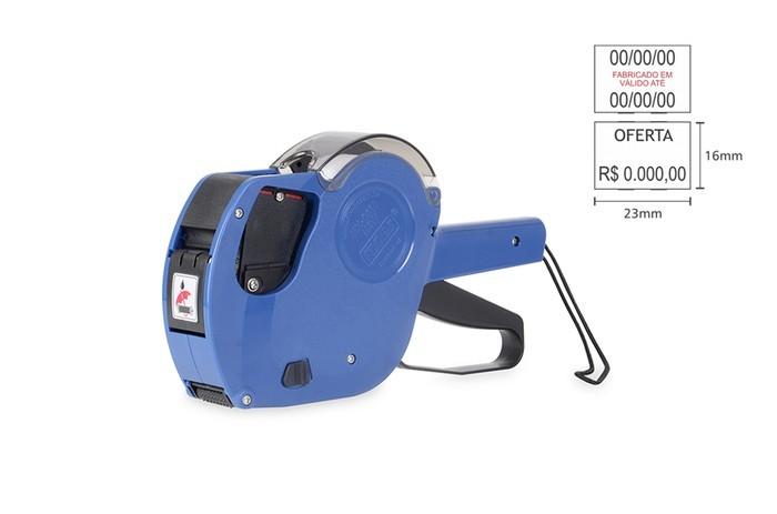 Kit - Etiquetador com Duas Linhas Fixxar MX2316 + Rolete de Tinta + 10 Rolos de Etiqueta Adesiva