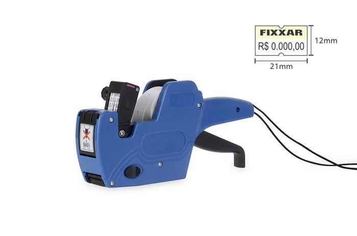 Kit - Etiquetadora Fixxar MX2212 + Rolete de Tinta + 10 Rolos de Etiqueta