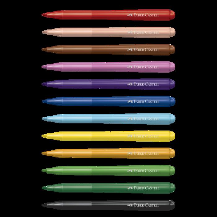 Kit - Guache Acrilex 12 Cores + Aquarela Pentel 24 Cores + Canetinhas Hidrocores Faber-Castell Vai e Vem 12 Cores + Lápis de Cor Faber-Castell Caras e Cores 30 Cores