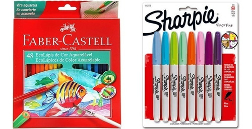 Kit - Lápis de Cor 48 Cores Aquarela Faber-Castell + Marcador Permanente 8 Cores Sharpie