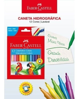 Kit - Lápis de Cor 48 Cores + Canetinhas Hidrográficas 12 Cores Faber-Castell