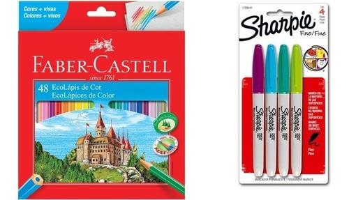 Kit - Lápis de Cor 48 Cores Faber-Castell + Marcador Permanente 4 Cores Sharpie