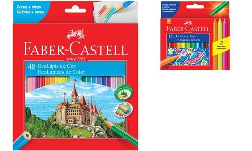 Kit - Lápis de Cor 48 Cores + Giz de Cera 12 Cores Faber-Castell