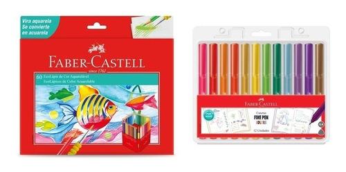 Kit - Lápis de Cor 60 Cores Aquarela + Canetas Fine Pen 12 Cores Dos Fãs Faber-Castell
