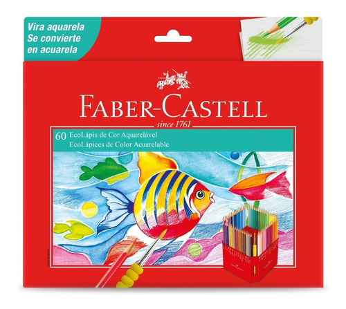 Kit - Lápis de Cor 60 Cores Aquarela + Canetas Fine Pen 12 Cores Faber-Castell