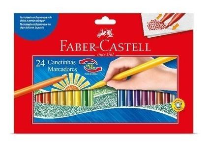 Kit - Lápis de Cor 60 Cores + Canetinhas Hidrocores Vai E Vem 24 Cores Faber-Castell