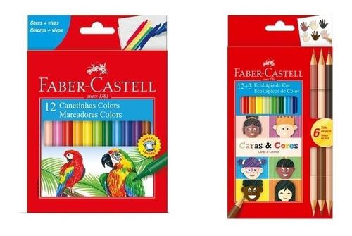 Kit - Lápis de Cor Caras E Cores 18 Cores + Canetinhas Hidrográficas 12 Cores Faber-Castell