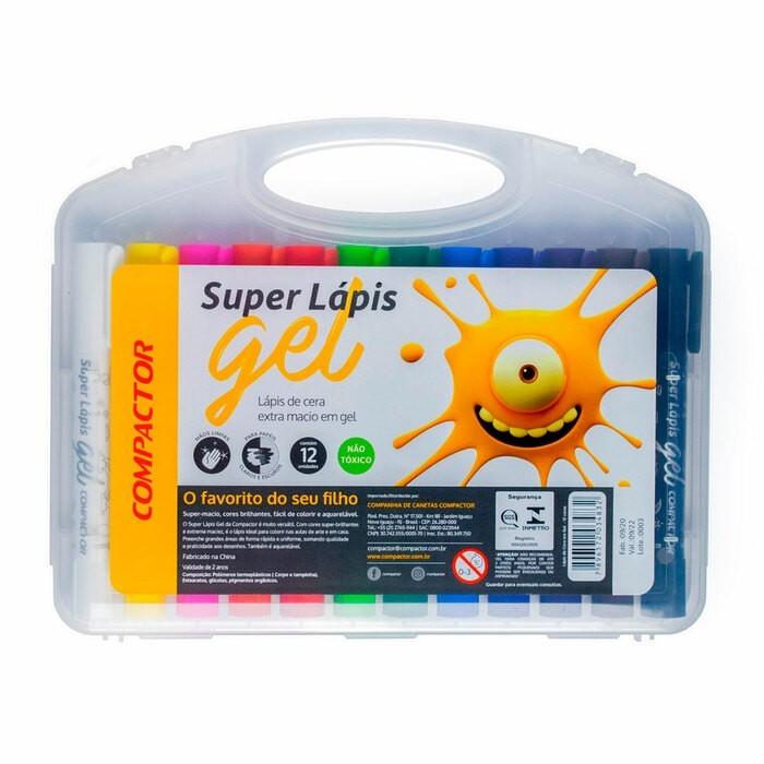 Kit - Lápis de Cor Compactor Super Gel 12 Cores + Lápis de Cor Compactor Super Gel 6 Cores Metálicas