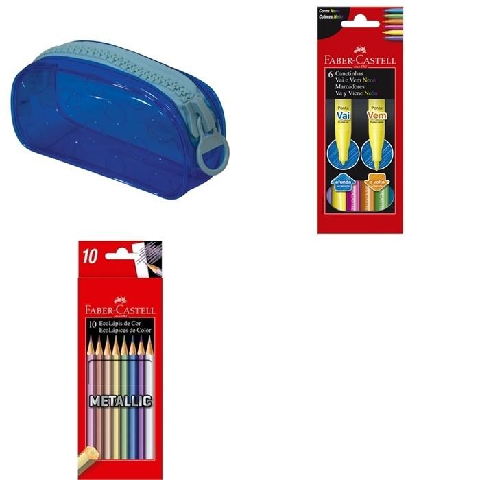 Kit - Lápis de Cor Faber-Castell 10 Cores Metálicas + Canetinhas Hidrocores Faber-Castell Vai e Vem 6 Cores Neon + Estojo DAC Bubble Azul