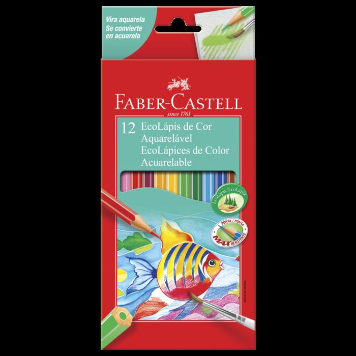 Kit - Lápis de Cor Faber-Castell 12 Cores Aquarela + Marcadores Permanentes Sharpie 4 Cores + Estojo DAC Bubble Rosa