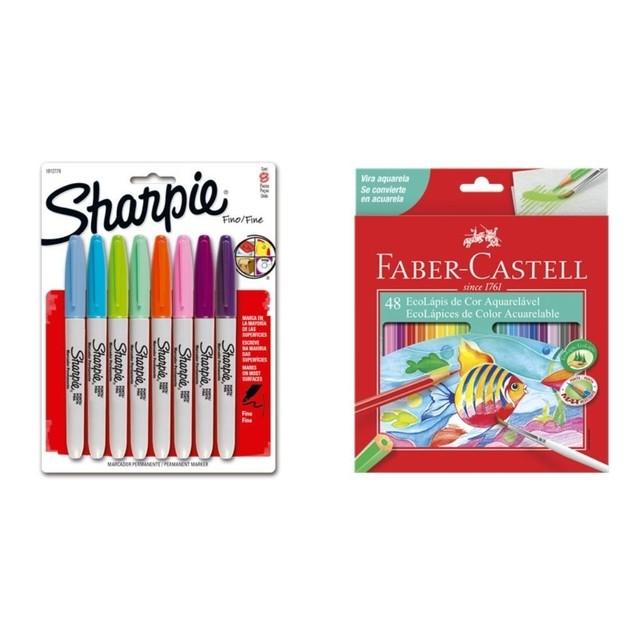Kit - Lápis de Cor Faber-Castell 48 Cores Aquarela + Canetas Marcadoras Sharpie 8 Cores