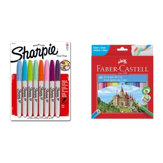 Kit - Lápis de Cor Faber-Castell 48 Cores + Canetas Marcadoras Sharpie 8 Cores