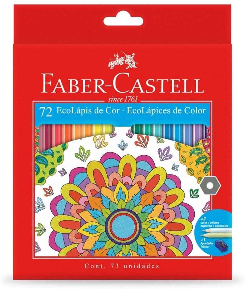 Kit - Lápis de Cor Faber-Castell 72 Cores + Livro para Colorir Antiestresse Floresta Encantada