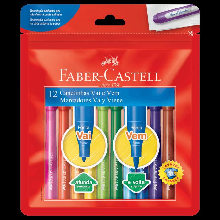 Kit - Lápis de Cor Faber-Castell Caras e Cores 18 Cores + Canetinhas Hidrocores Faber-Castell Vai e Vem 12 Cores+ Estojo Tilibrz Box Azul Claro