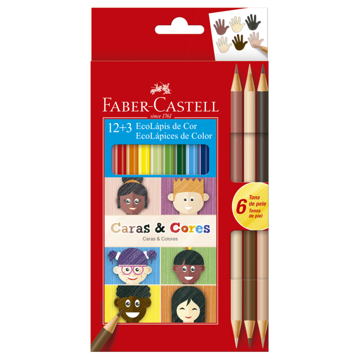 Kit - Lápis de Cor Faber-Castell Caras e Cores 18 Cores + Canetinhas Hidrocores Faber-Castell Vai e Vem 24 Cores + Estojo DAC Bubble Verde