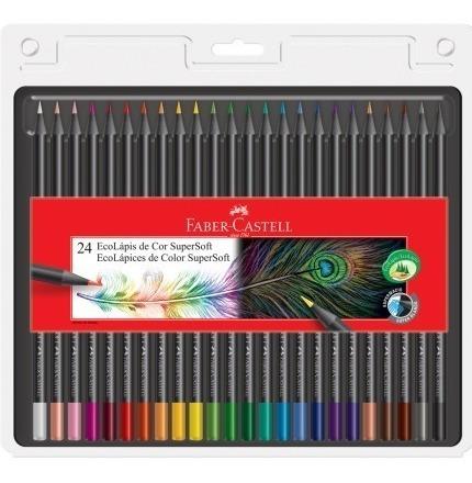 Kit - Lápis de cor Supersoft 24 Cores + Canetinhas Hidrocores 12 Cores Faber-Castell