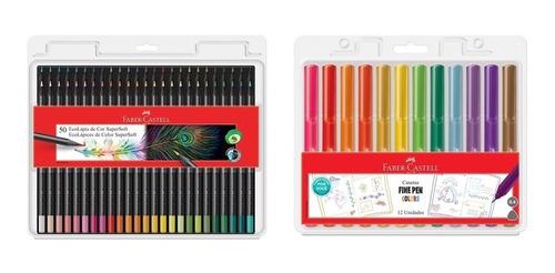 Kit - Lápis de Cor Supersoft 50 Cores + Canetas Fine Pen 12 Cores dos Fãs Faber-Castell