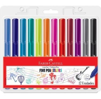 Kit - Lápis de Cor Supersoft 50 Cores + Canetas Fine Pen 12 Cores Faber-Castell