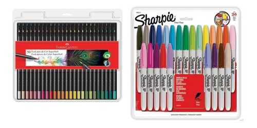 Kit - Lápis de Cor Supersoft 50 Cores + Marcador Permanente 24 Cores Sharpie