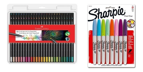 Kit - Lápis de Cor Supersoft 50 Cores + Marcador Permanente 8 Cores Sharpie