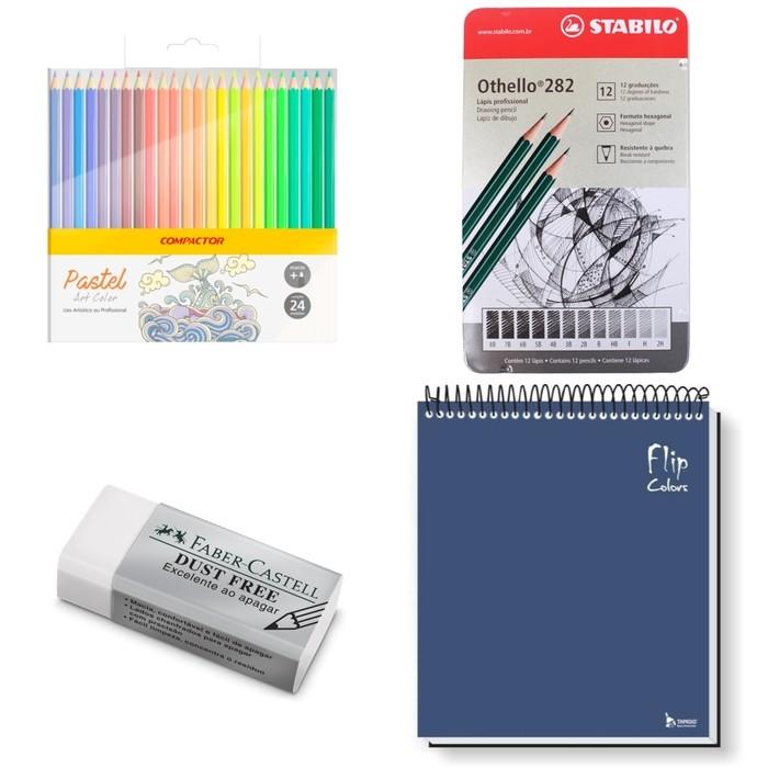 Kit - Lápis Grafite 12 Graduações Stabilo Othello + Borracha Faber-Castell Dust Free + Caderno Tamoio Azul + Lápis de Cor Compactor 24 Cores Pastel