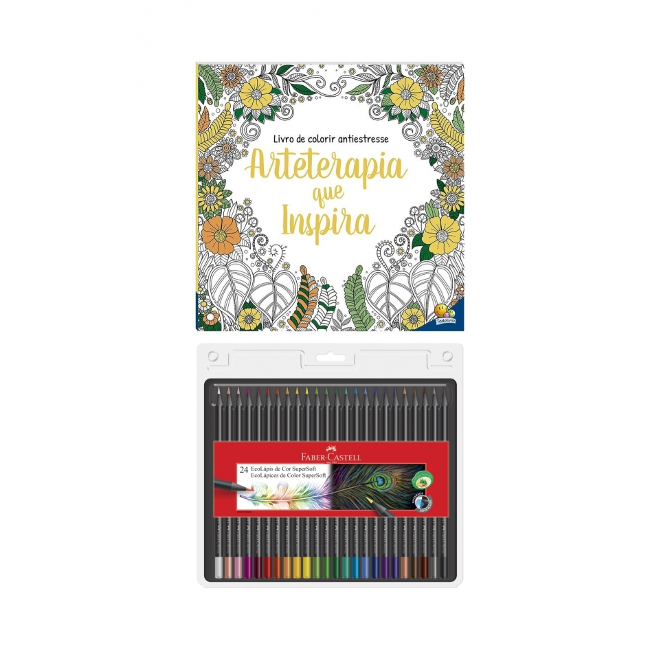 Kit - Livro de Colorir Antiestresse Arteterapia que Inspira + Lápis de Cor Faber-Castell Supersoft 24 Cores