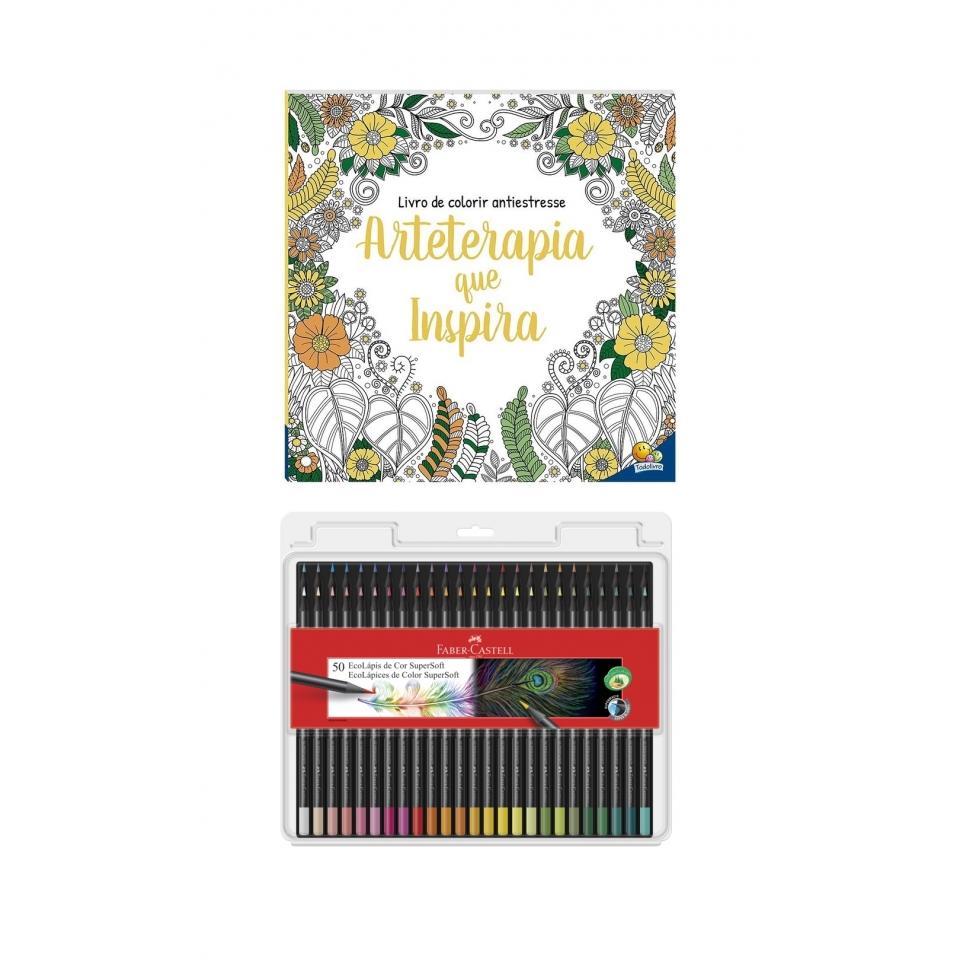 Kit - Livro de Colorir Antiestresse Arteterapia que Inspira + Lápis de Cor Faber-Castell Supersoft 50 Cores