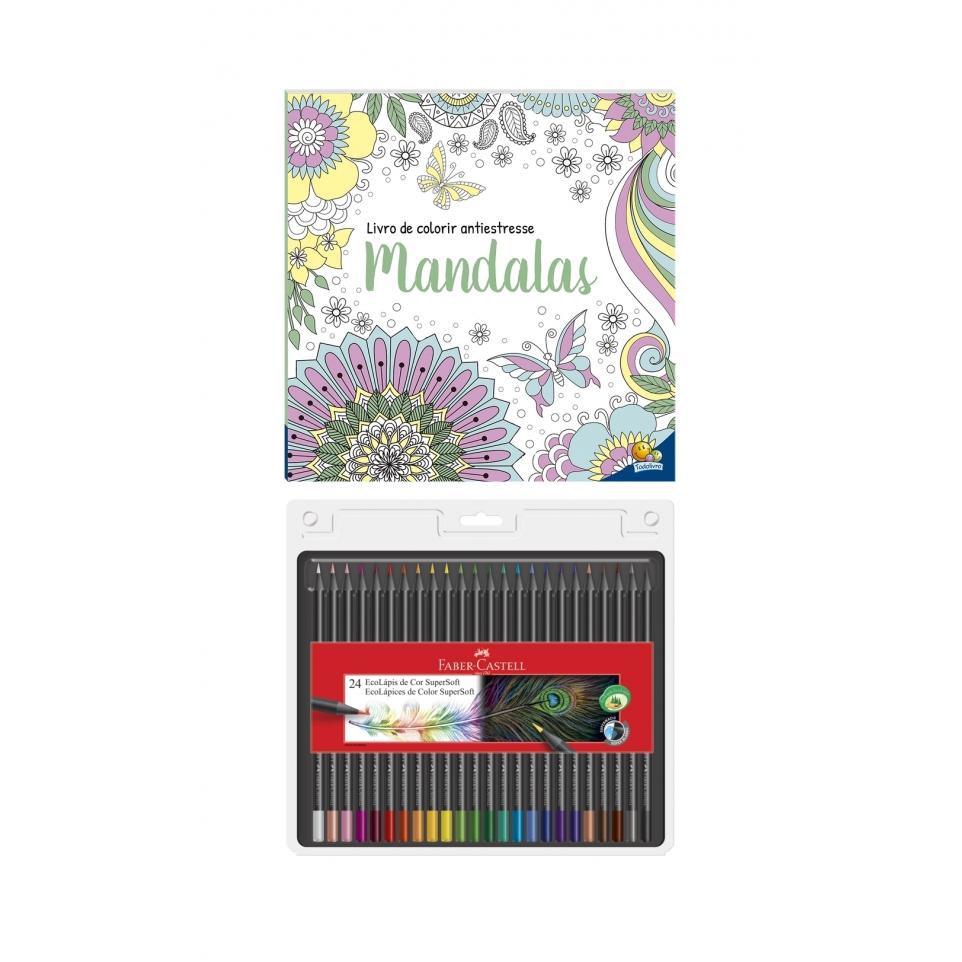 Kit - Livro de Colorir Antiestresse Mandalas + Lápis de Cor Faber-Castell Supersoft 24 Cores