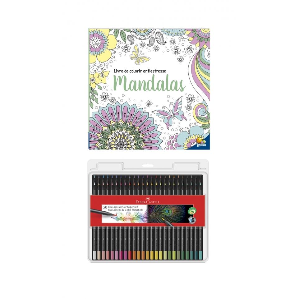 Kit - Livro de Colorir Antiestresse Mandalas + Lápis de Cor Faber-Castell Supersoft 50 Cores
