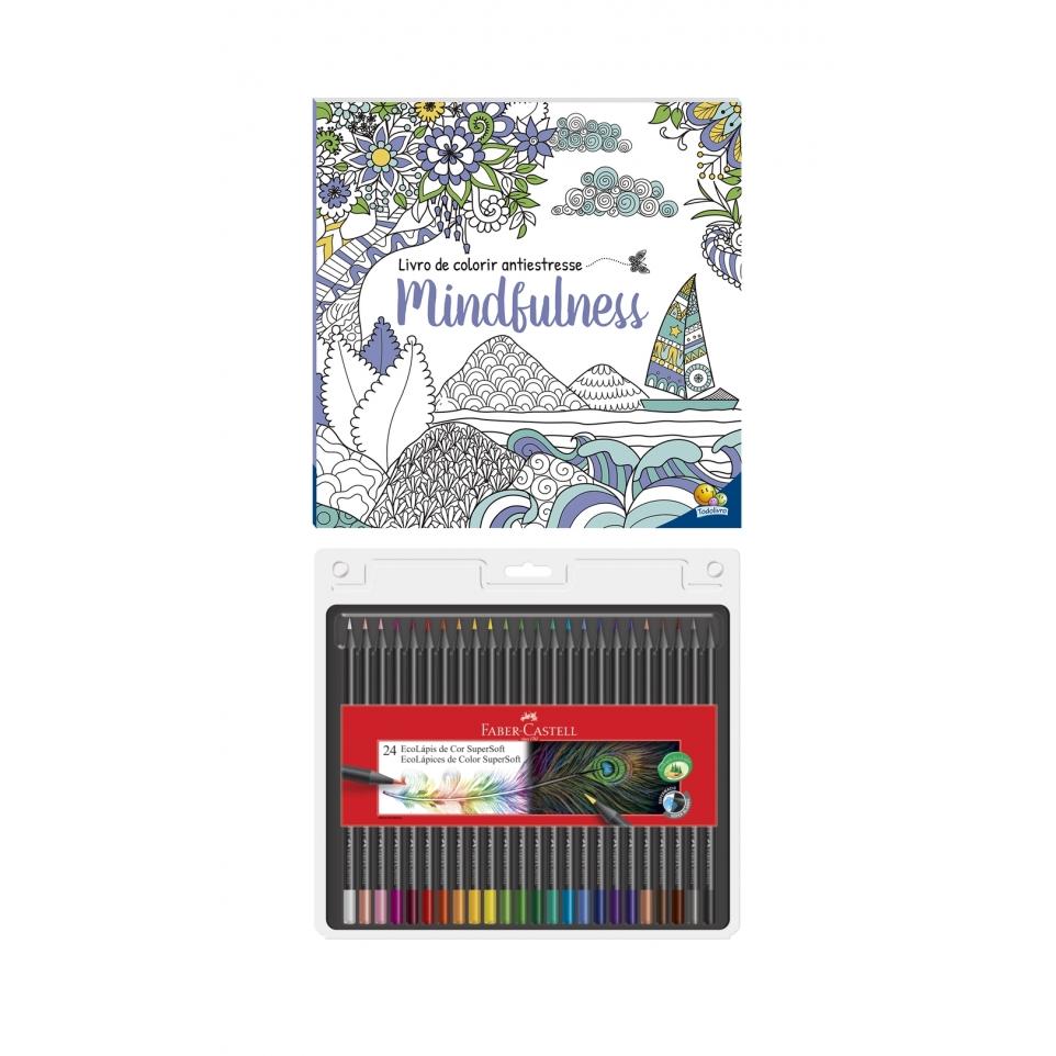 Kit - Livro de Colorir Antiestresse Mindfulness + Lápis de Cor Faber-Castell Supersoft 24 Cores