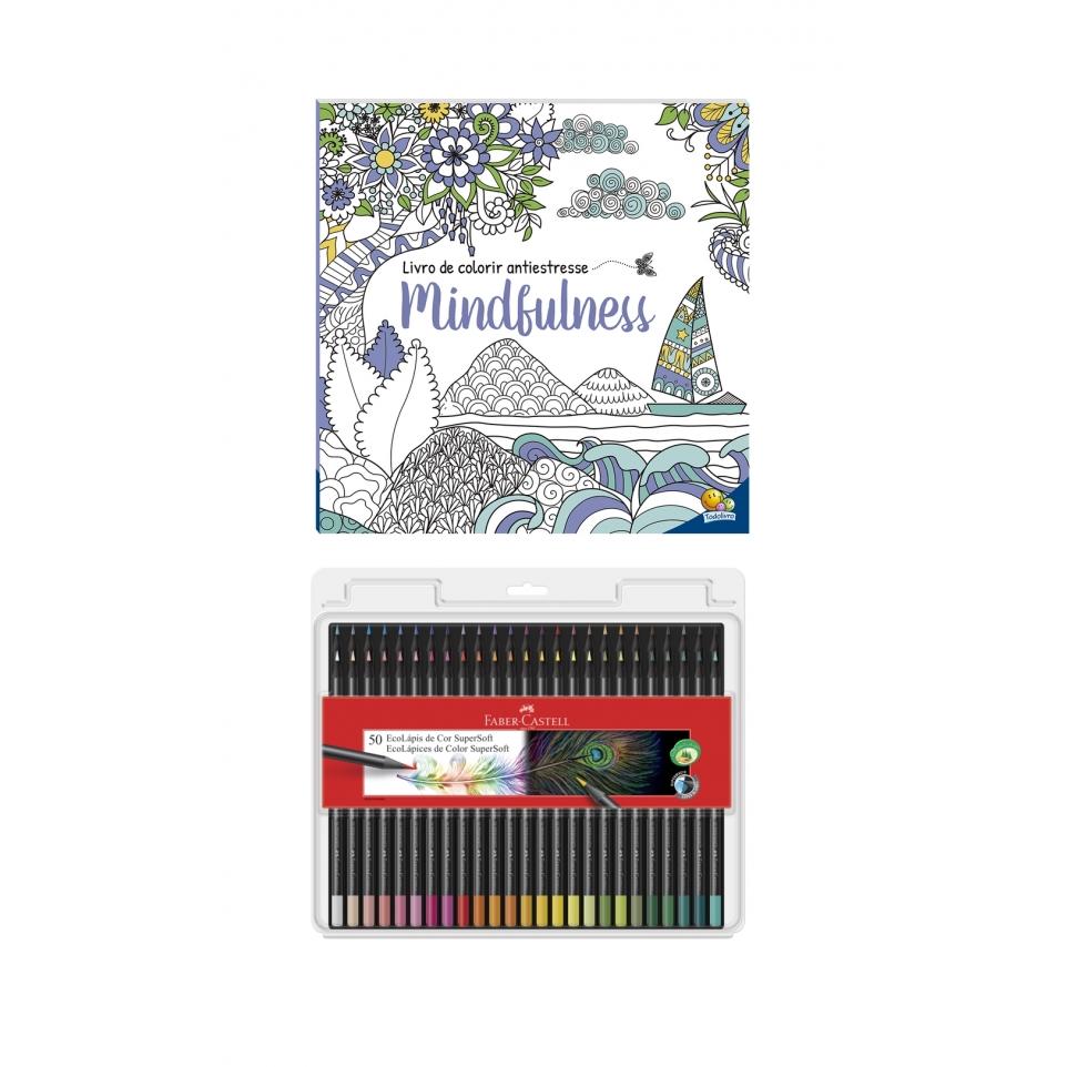 Kit - Livro de Colorir Antiestresse Mindfulness + Lápis de Cor Faber-Castell Supersoft 50 Cores