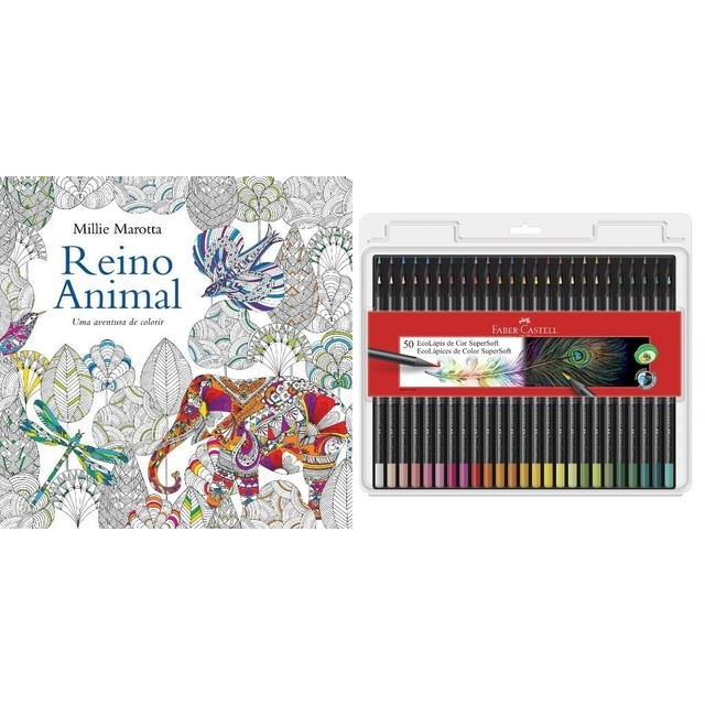 Kit - Livro de Colorir Antiestresse Reino Animal + Lápis de Cor Faber-Castell Supersoft 50 Cores