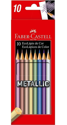 Kit - Livro para Colorir Antiestresse Jardim Secreto+ Lápis de Cor 10 Cores Metálicas Faber-Castell