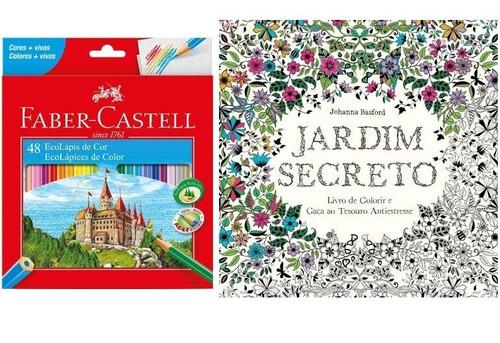 Kit - Livro para Colorir Antiestresse Jardim Secreto + Lápis de Cor 48 Cores Faber-Castell
