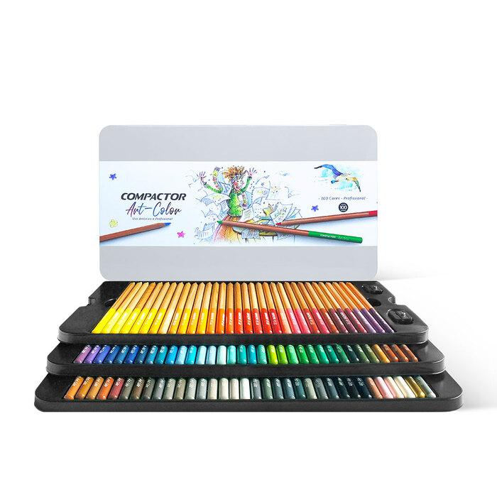 Kit - Livro para Colorir Antiestresse Mundo Das Flores + Lápis de Cor Profissional com 100 Cores Compactor Art Colors